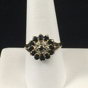 Sapphire and diamond ring, 10K yellow gold